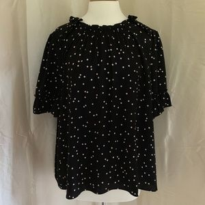 Kate Spade Scatter Dot Ruffle Top-Excellent Cond.